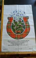 Vtg cotton linen tea towel Lamont Tartan Horseshoe Scotland pale blue