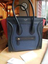 AUTHENTIC**Celine micro luggage Tote  Tri-color leather HANDBAG *Mint*