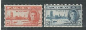 ASCENSION 21 OCTOBER 1946 PEACE VICTORY PAIR OF COMMEMORATIVE STAMPS MH