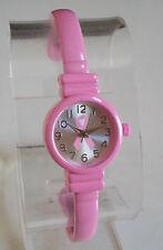 Ladies  Small Pink Breast Cancer Ribbon  Bangle Cuff Quartz Fashion Watch