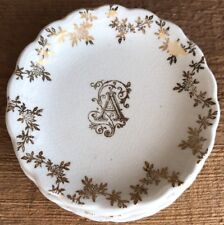 """Vintage Butter Pat Small Dish Plate Plates Monogram Initial Letter """"A"""" or """"V"""""""