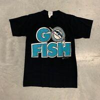 Vintage 1997 Florida Marlins Go Fish Shirt World Series Black Size Large