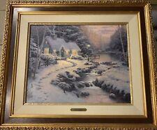 "Thomas Kinkade ""Evening Glow Christmas Cottage X"" 2452/2950 S/N Framed Canvas"