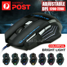 7 Button 7200 DPI LED Wired USB Ergonomic Optical Gaming Mouse For PC Laptop Mac