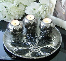 Silver & Black Plate CONTEMPORARY Design Triple Tea Light Candle Holder Ornament