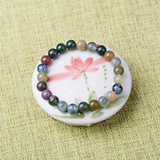 Natural 8mm Gorgeous Indian Agate Healing Crystal Stretch Bead Bracelet Unisex #