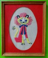 Vintage Mid Century 60s 70s Colorful Lion Needlepoint Crewel Framed Wall Hanging