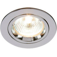 Fixed Round Recess Ceiling Down Light–Chrome–80mm Flush GU10 Lamp Holder Fitting
