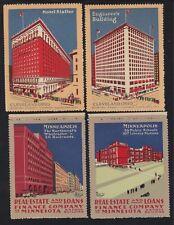 US 4 Vintage Minneapolis & Ohio Buildings Cinderella/Poster Stamps (L96)