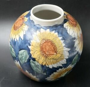 Vintage Hand Painted Floral Blue Round Sunflower Vase Home Decoration