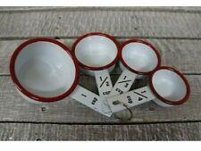 ENAMELWARE MEASURING CUPS Set of 4 WHITE RED Enamel Baking Cooking Kitchen Tools