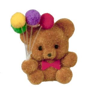 Flocked Teddy Bear w/ Balloons, Dolls House Miniature, Nursery 1.12 Scale