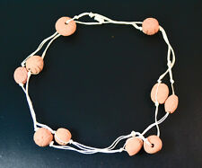 BUDDHIST STYLE HIPPY MONK NECKLACE CHUNKY CLAY STONE ON A WHITE STRING(ZX9)