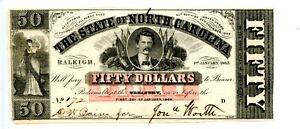 1863    Raleigh, North Carolina    $50  CR# 117  No watermark.