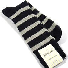 Neiman Marcus Men's Rugby Stripe Socks Merino Wool Blend Navy Blue Made in Italy