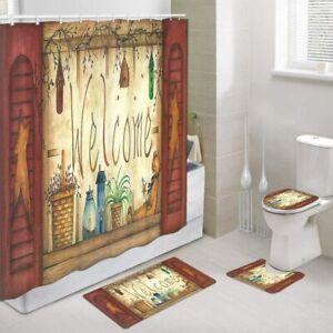 Primitive Country Home Shower Curtain 4 Pcs Set, Vintage Bear & Rustic Farmhouse