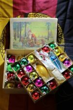Vintage Boxed More 40 Glass Christmas Baubles Some Decoration GDR 1972s