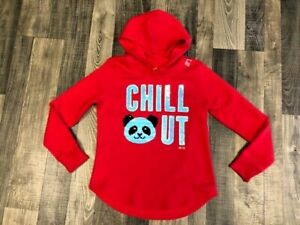 """Justice Girls Panda Color Change Flip Sequins  """"Chill Out"""" Hoodie NWT"""