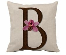 Letter B Cushion Cover Rustic Decor Beach House Pink Orchid 🌸