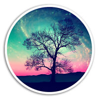 2 x 10cm Space Tree Vinyl Stickers - Nature Galaxy Sticker Laptop Luggage #8218