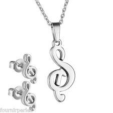 1 Set Boucles d'oreilles Clous+Collier Symbole Musical Acier Inoxydable Bijoux