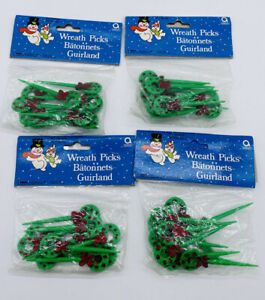 Vintage Christmas Cupcake Picks Topper Amscan Wreaths NOS 4 Packages of 10