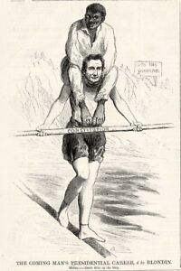 Abraham Lincoln on Tight Rope - Coming Mans Presidential Career Cartoon 1860