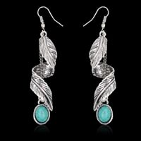 Native American Indian Style Earrings Pierced Silver Turquoise Dangle Drop Long
