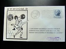 Enveloppe conquête spatiale américaine 19 8 1964  Cape Canaveral Syncom 3 satell