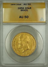 1856 Brazil 20,000 Reis Gold Coin ANACS AU-50 (B)