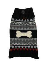 Black Gray Bone ZigZag XXS Extra Extra Small Dog Cat Pet Heavy Sweater Free Ship