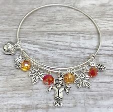 Fall Season with Scarecrow & Maple Leaves charms Expandable Bangle Bracelet