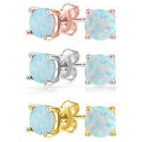 14K Rose Gold Filled Plated Natural Opal Created Round Stud Earrings