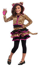 Girls Leopard Hoodie Costume Animal Print Tutu Dress Child Size Medium 8-10