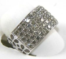 Wide 5 Row Diamond Cluster Pave Ladys Ring Band 14k White Gold 2.30Ct
