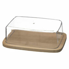 Bamboo Butter Dish with Plastic Lid Storage Tray Holder Serving Gift Set ECO New