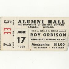 Roy Orbison Concert Ticket Stub London On 6/17/81 Canada Pretty Woman Rare