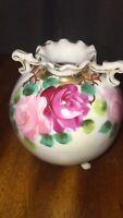 Beautiful Vintage Nippon Japan Hand Painted Floral Vase