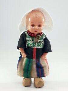 "Vintage 1950's Celluloid Plastic 7"" Doll Dutch / Holland Sleep Eyes Wooden shoes"