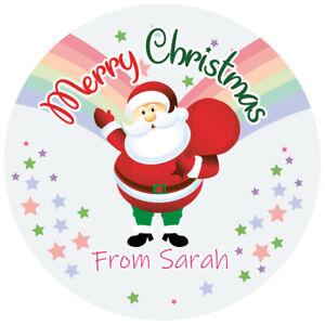Personalised Merry Christmas Stickers Labels Santa presents MATT GLOSSY 24 & 35