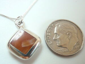 Reversible Red Agate and Mother of Pearl 925 Sterling Silver Pendant