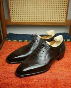 Handmade Men's Black Color Leather Shoes, Wing Tip Brogue Lace Up Formal