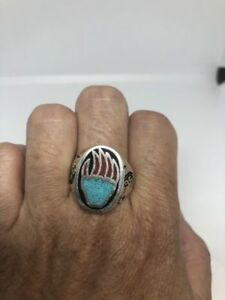 1980's Vintage Silver Southwestern Size 7 Bear Paw Turquoise Inlay Ring