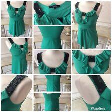 Star By Julian Mcdonald Size 10 Jade Green Cut Out Scoop Neck Black Bead Top Vgc