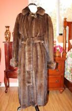 Beautiful Long Demi-Buff MINK Fur Coat With Belt Scalloped Hem Women's  L 10 12