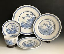 5pc Place Setting Manson's Ironstone Quail Blue Pattern Made In England