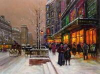 Oil painting porte denis winter snow figures in street scene art hand painted