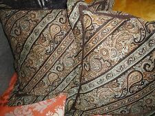 """TOMMY HILFIGER YORK BROWN BLUE PAISLEY STRIPE (2) SQUARE THROW PILLOWS  16"""""""