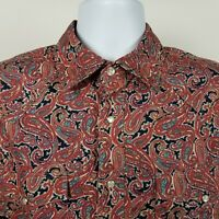 Roper Mens Red Blue Paisley Western Snap Button Shirt Sz Medium M