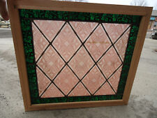 Antique painted and fired LEADED STAINED GLASS window red/green